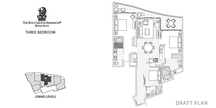 「リッツ・カールトン・レジデンス・ワイキキビーチ」Unit No.3405のユニットプラン